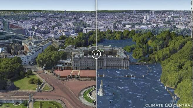 기온 3도 상승시 영국 런던의 버킹엄궁 모습 - 비영리 연구단체인 클라이밋 센트럴은 미국 프린스턴 대학과 독일 포츠담 기후영향연구소 연구원들과 함께 분석을 진행한 결과 연안에 있는 전 세계 약 50개 도시가 침수 피해를 입는다는 결론을 내렸다. 사진은 기온 3도 상승시 영국 런던의 버킹엄궁 모습을 시뮬레이션한 이미지.클라이밋 센트럴