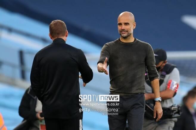 ▲ 맨체스터 시티가 2년 뒤에 펩 과르디올라 감독(오른쪽) 후임으로 브랜단 로저스(왼쪽)를 낙점했다