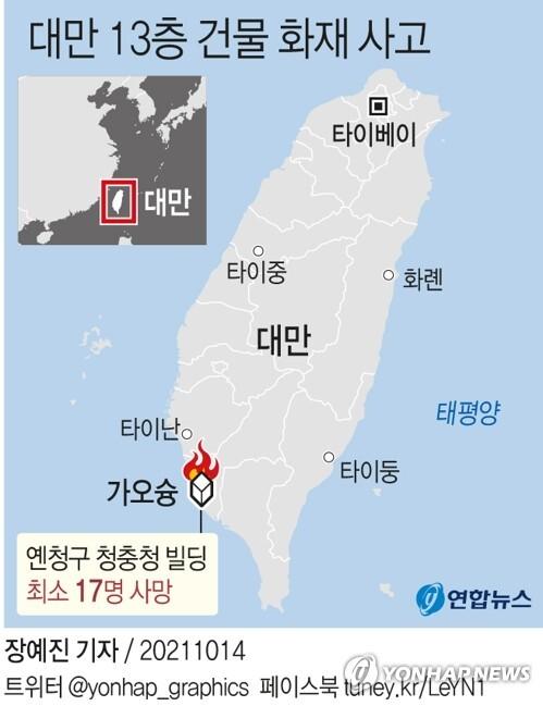 [그래픽] 대만 13층 건물 화재 사고 (서울=연합뉴스) 장예진 기자 = jin34@yna.co.kr