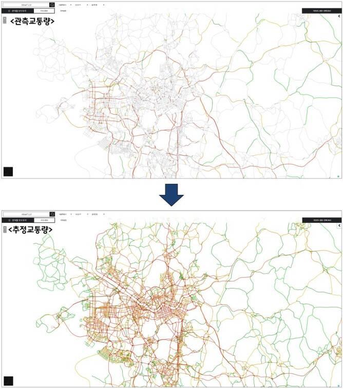 공공 관측 자료와 민간 네이게이션 빅데이터를 융합해 전국 미 관측 도로의 교통량까지 추정해 낼 수 있다.